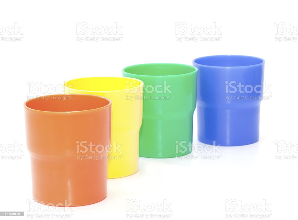 Plastic cups set isolated royalty-free stock photo