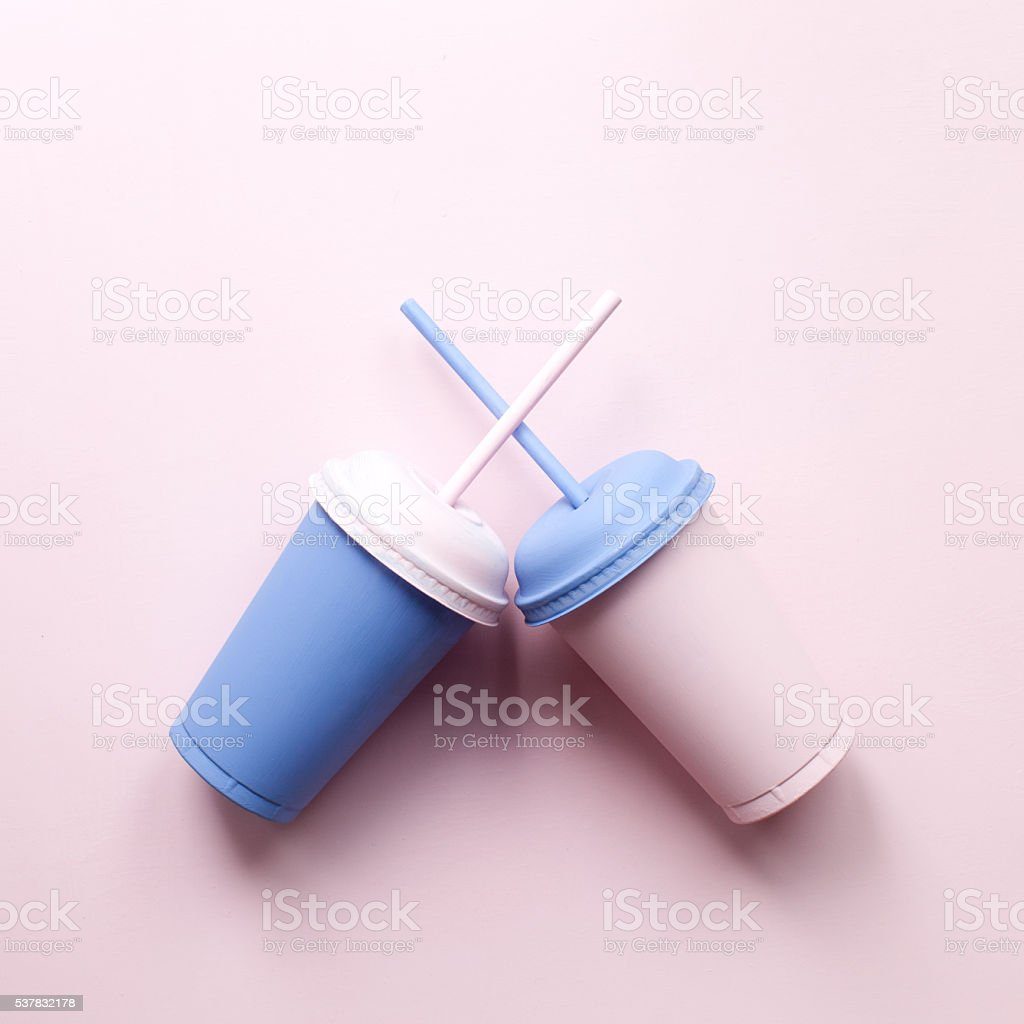 Plastic cups straw. Drink art poster stock photo