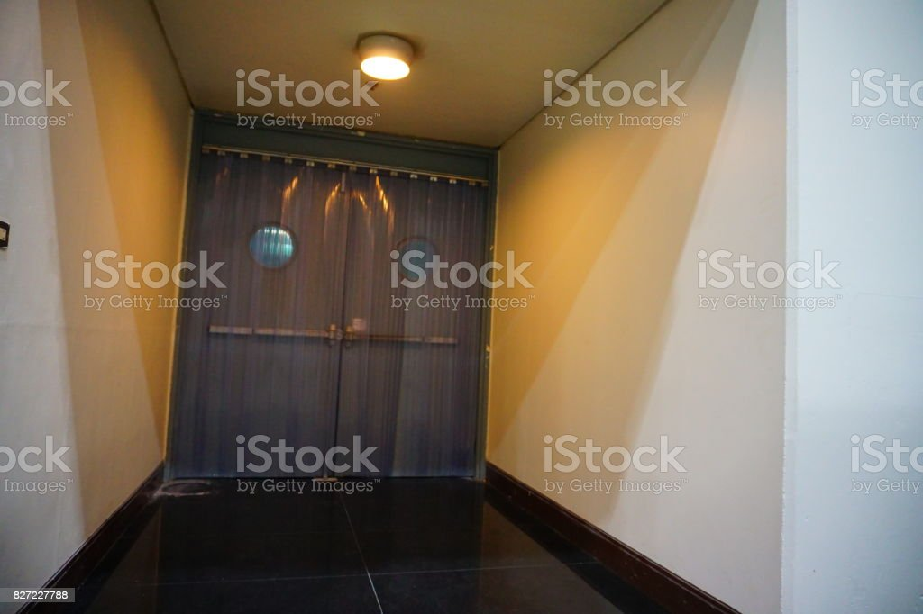 Plastic Curtain  corridor with view stock photo