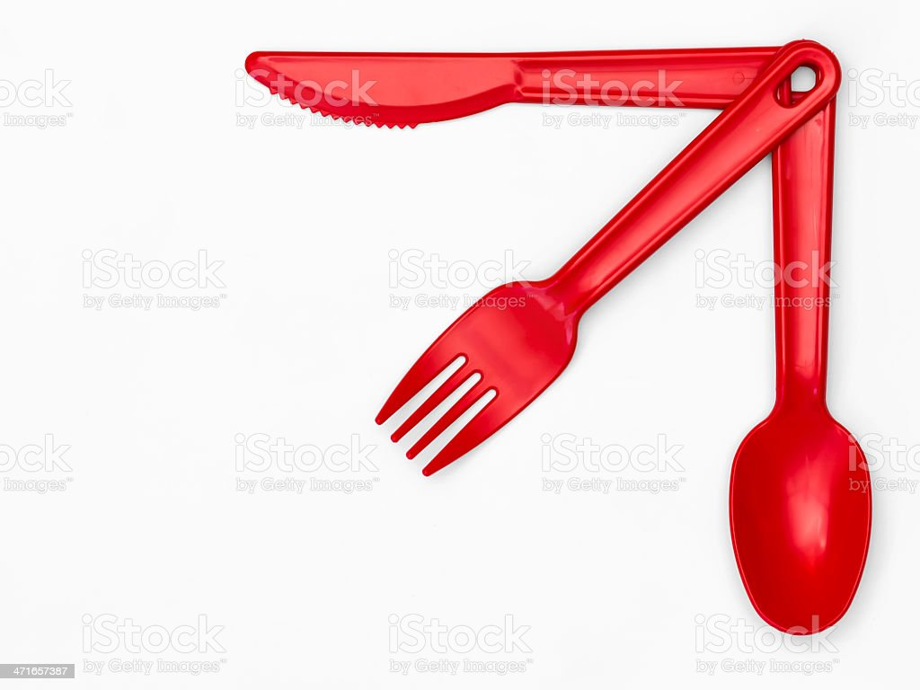 Plastic Cutlery 03 - Red royalty-free stock photo
