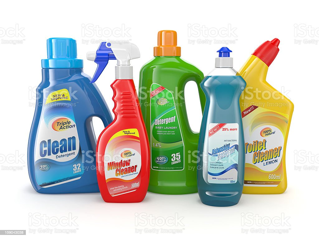 Plastic detergent bottles. Cleaning products. stock photo