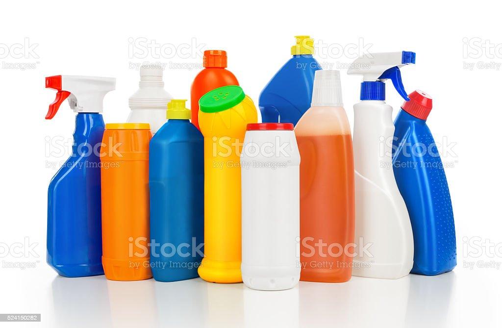 Plastic detergent bottles stock photo