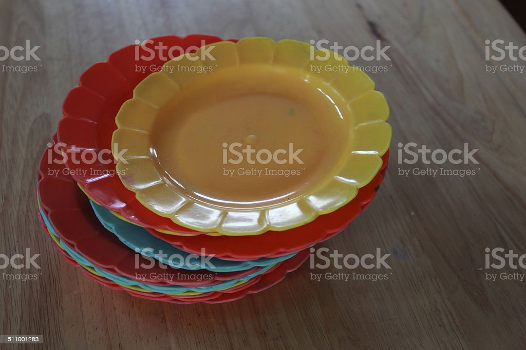 plastic dishes stock photo