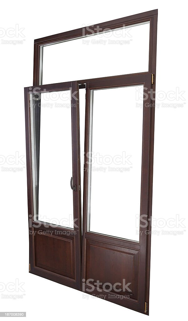 Plastic Double Glazing Window, color dark mahogany,  tilted in vertically. stock photo