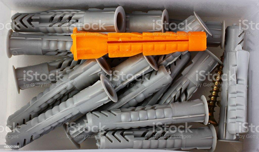 Plastic dowel stock photo