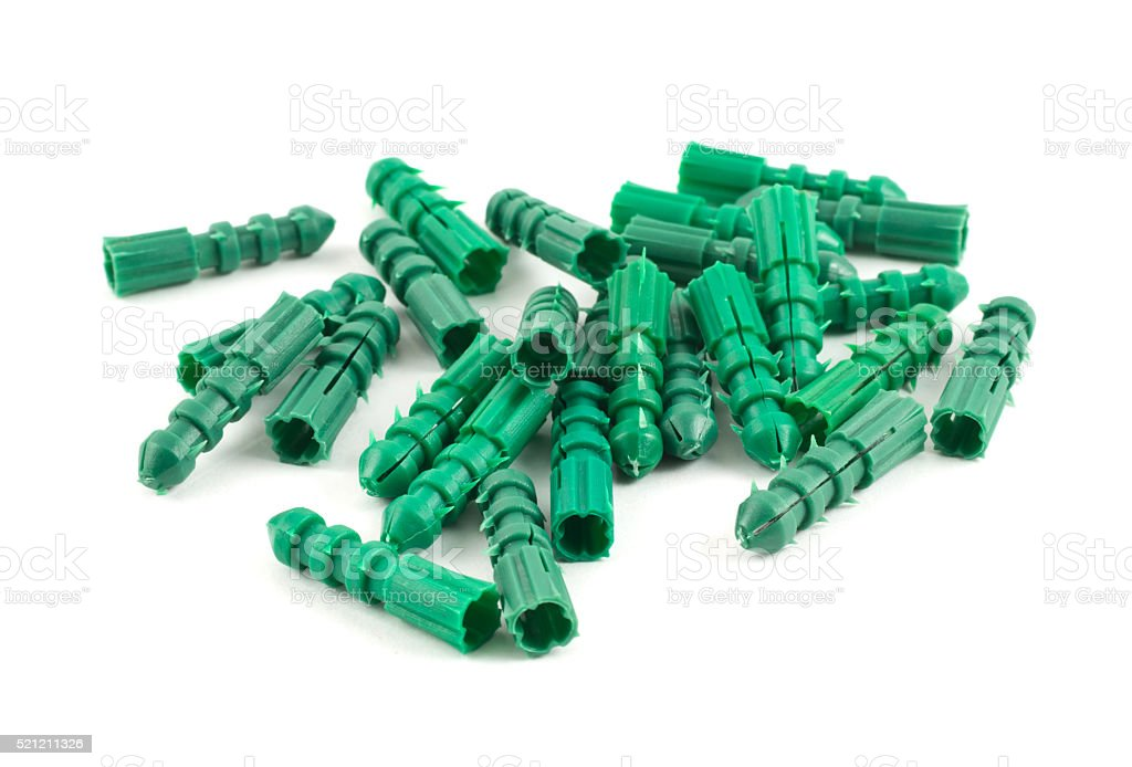 Plastic dowel pin pile isolated stock photo