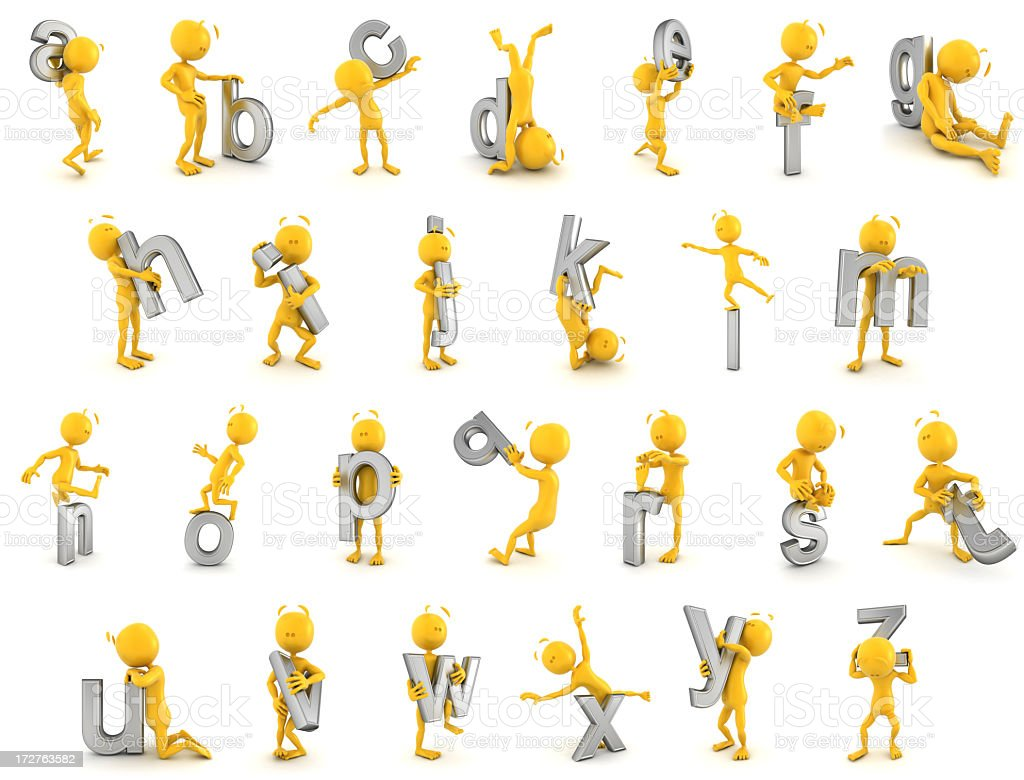 plastic fellow & alphabet stock photo
