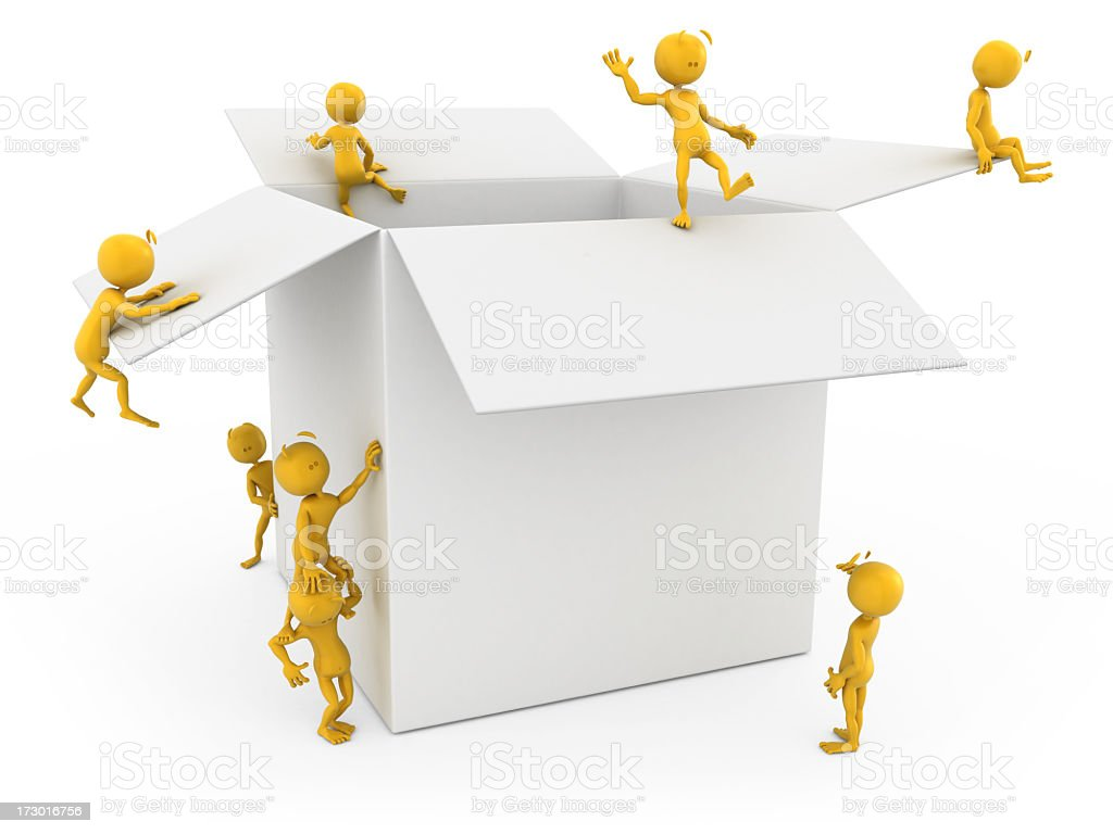 plastic fellows on the open box royalty-free stock photo