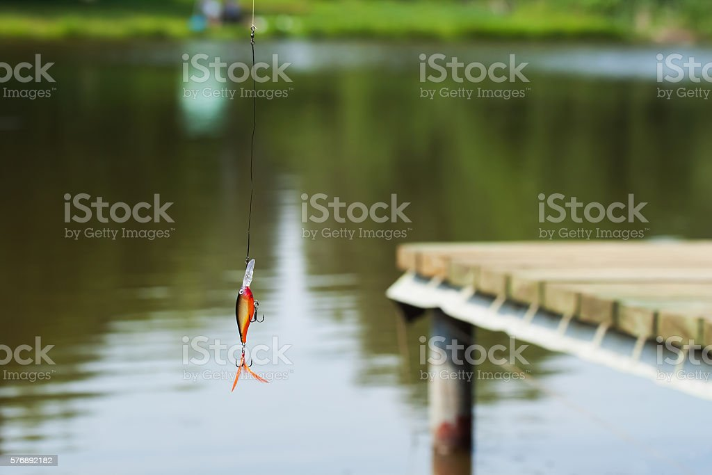 Plastic fishing lure for spinning , active rest. stock photo