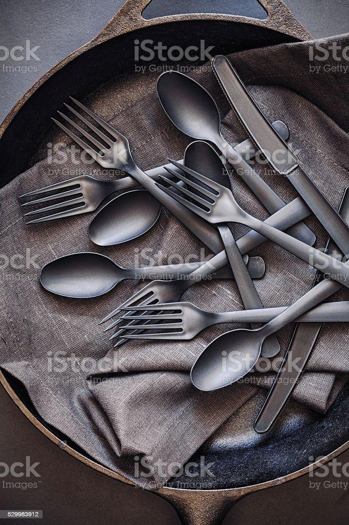Plastic flatware stock photo
