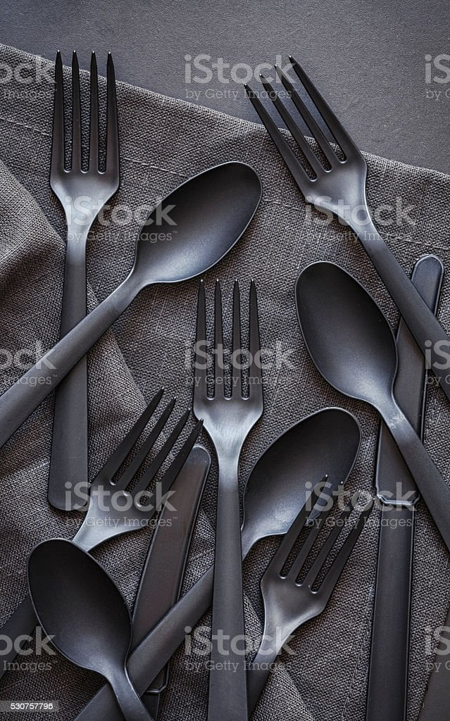 Plastic flatware stock photo