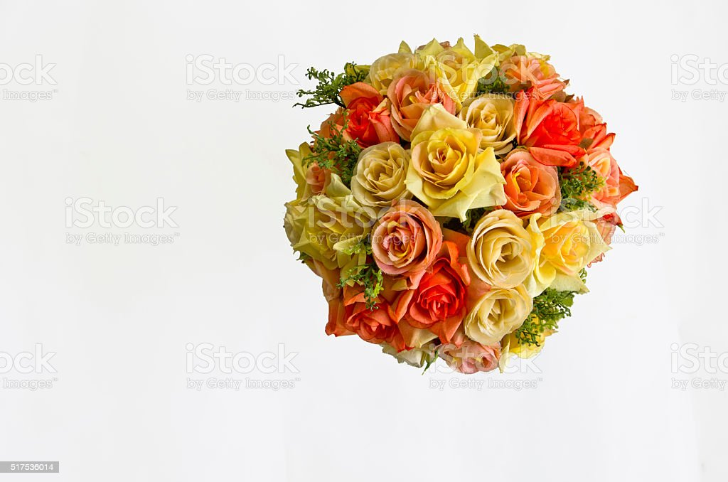 Plastic Floral Bouquet on White Background. stock photo