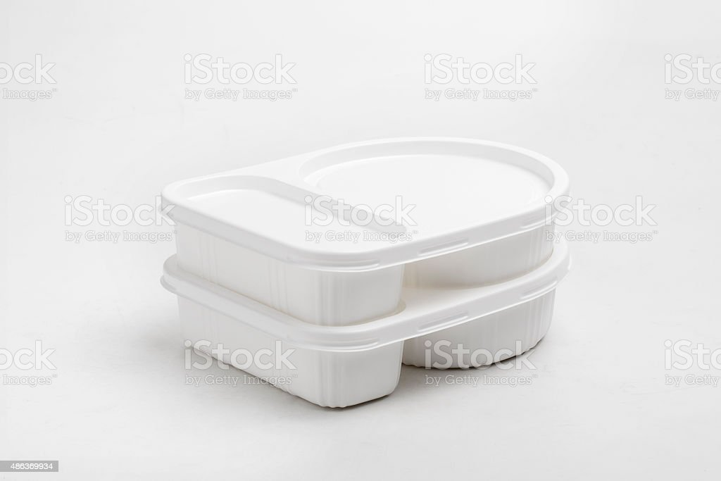plastic food container. isolated over white background stock photo