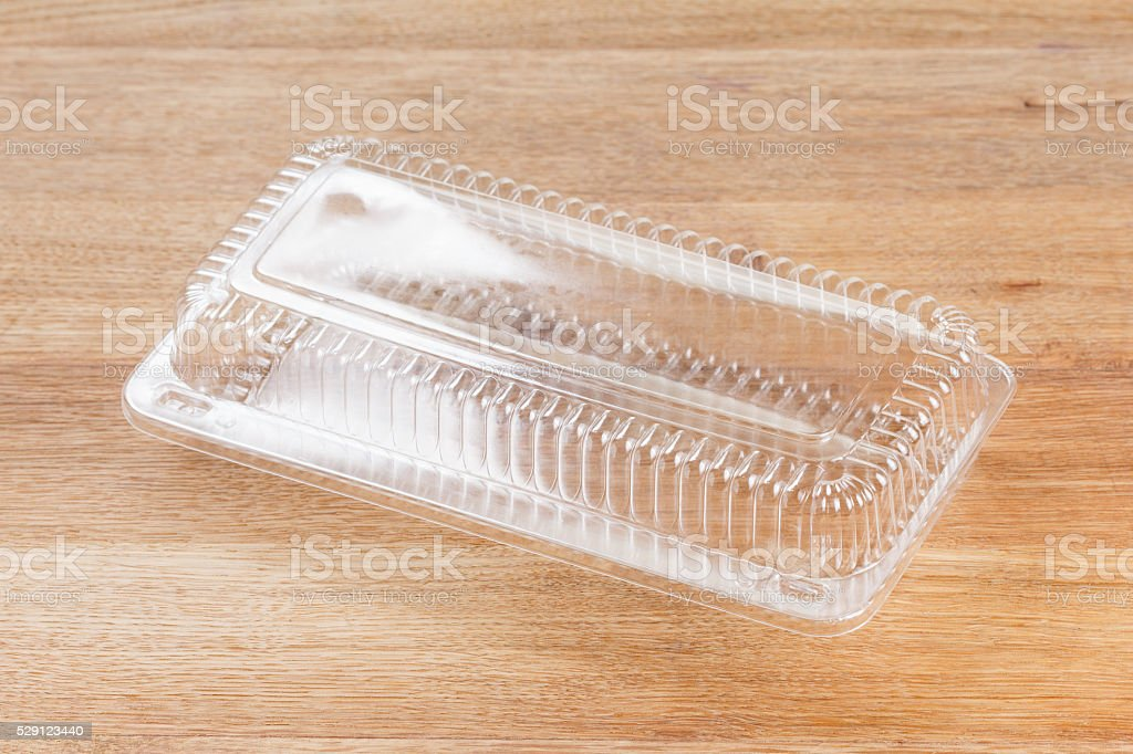 Plastic food package isolated on white background stock photo