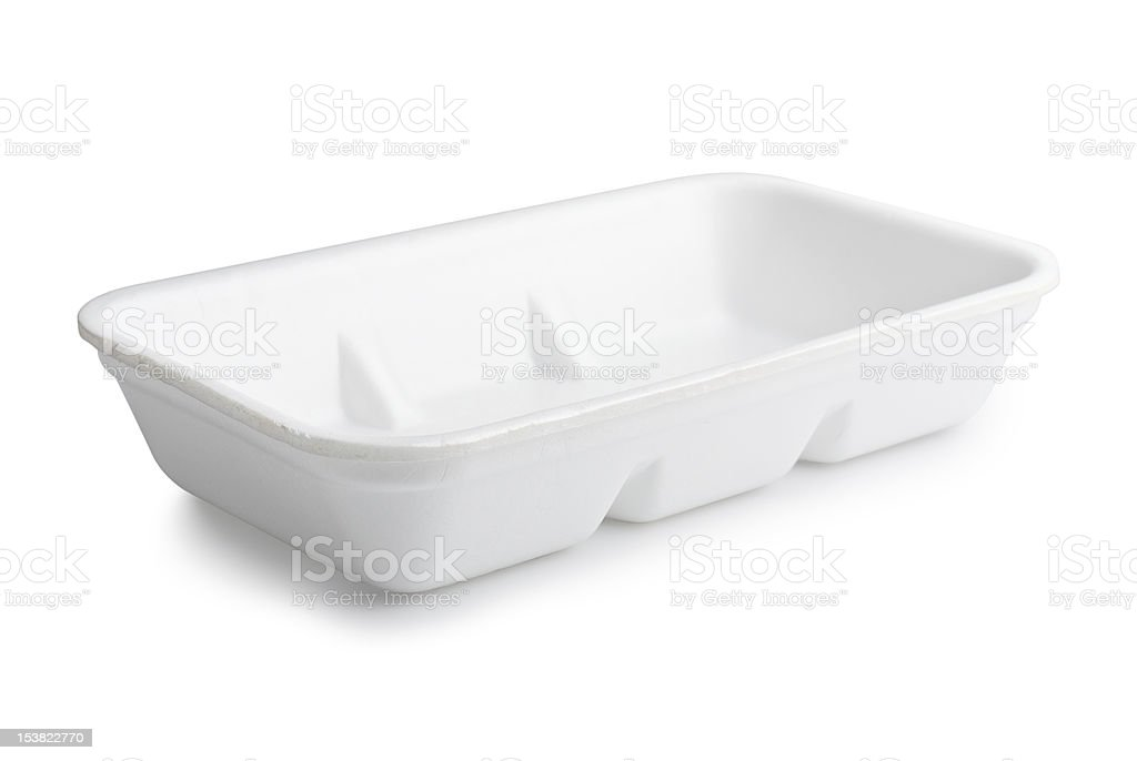 Plastic food tray isolated in white background stock photo