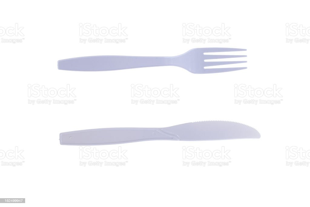 plastic fork and knife isolated on white stock photo