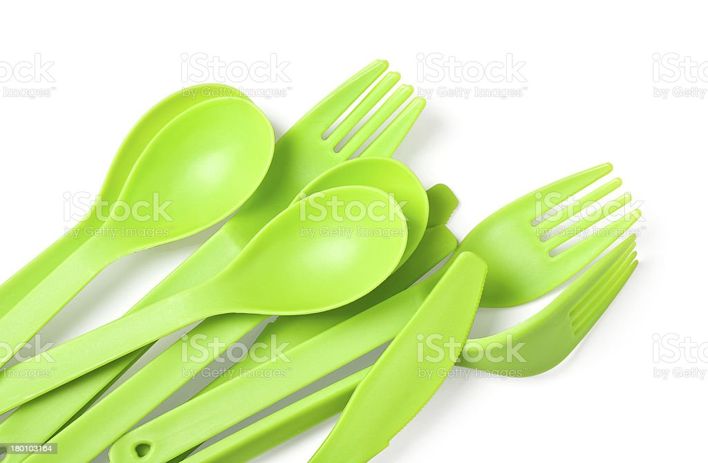 plastic fork, spoon and knife stock photo