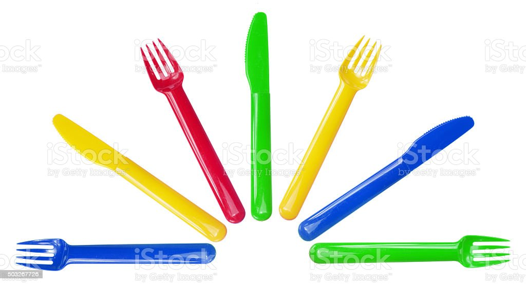 Plastic Forks and Knives stock photo