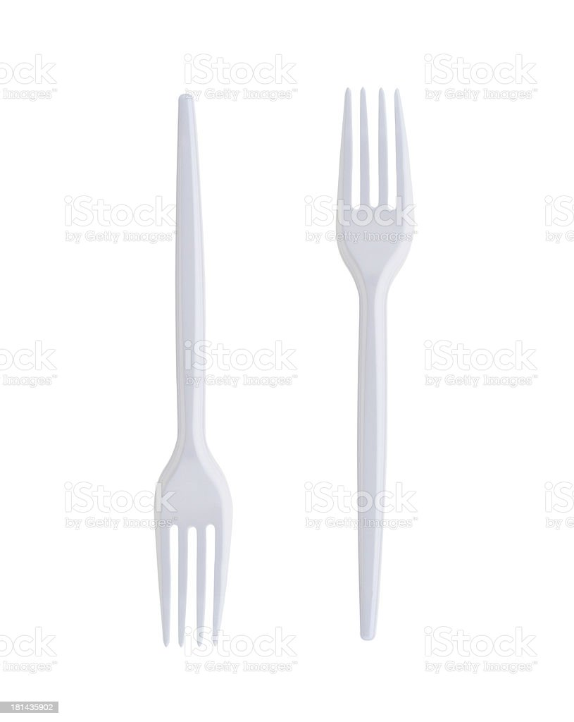 Plastic Forks on White Background stock photo