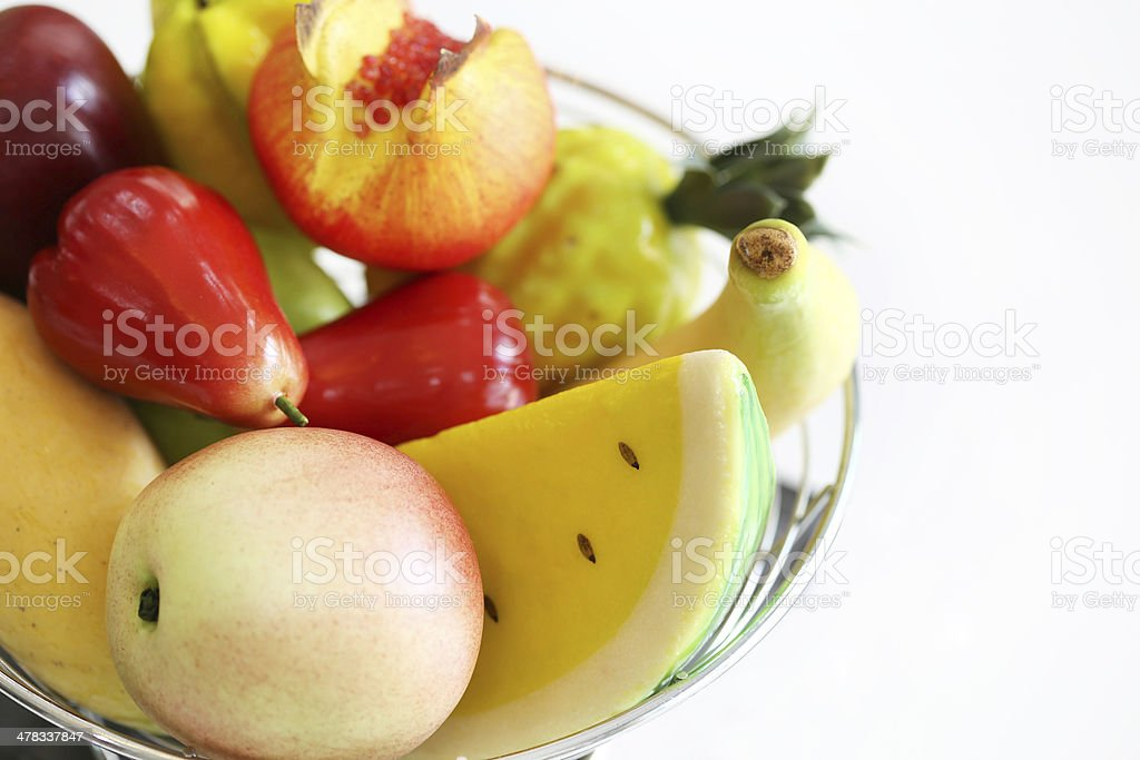 Plastic fruit arrangement stock photo