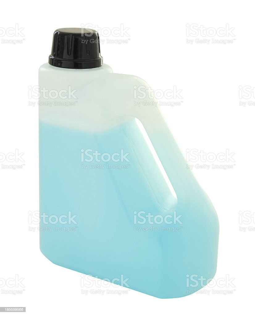 plastic gallon container with blue liquid royalty-free stock photo