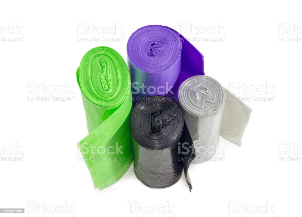Plastic garbage bags in rolls of different sizes and colors stock photo