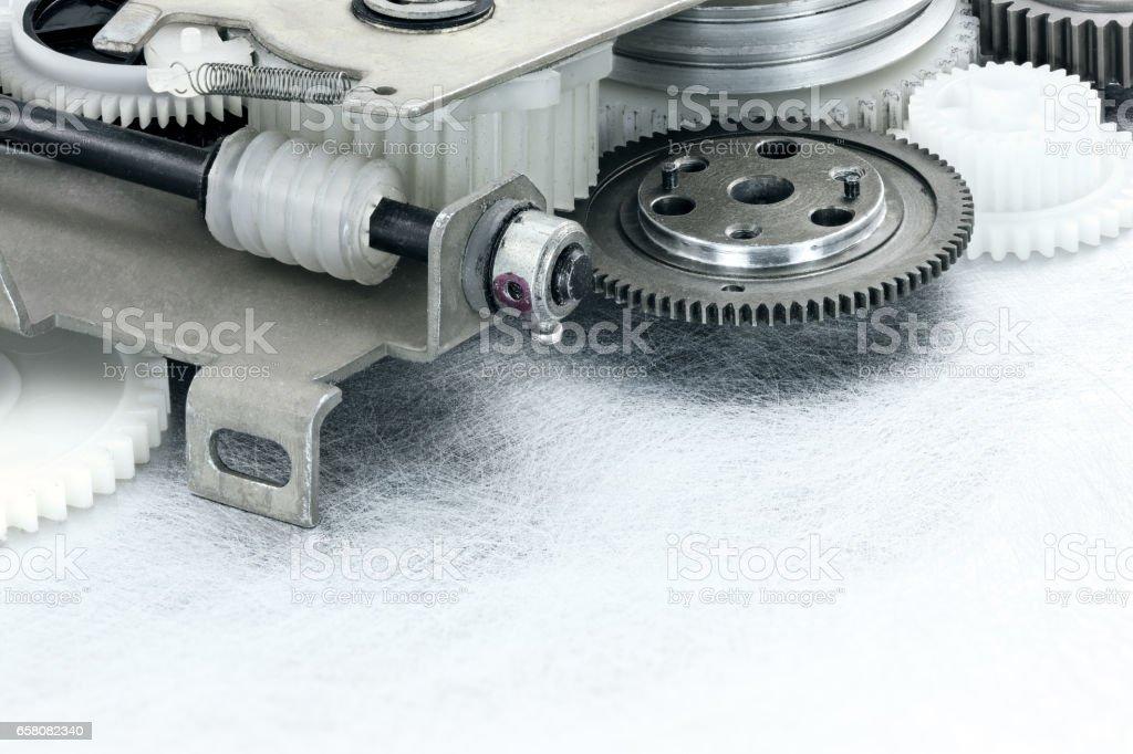 plastic gear cogwheels for industrial equipment stock photo