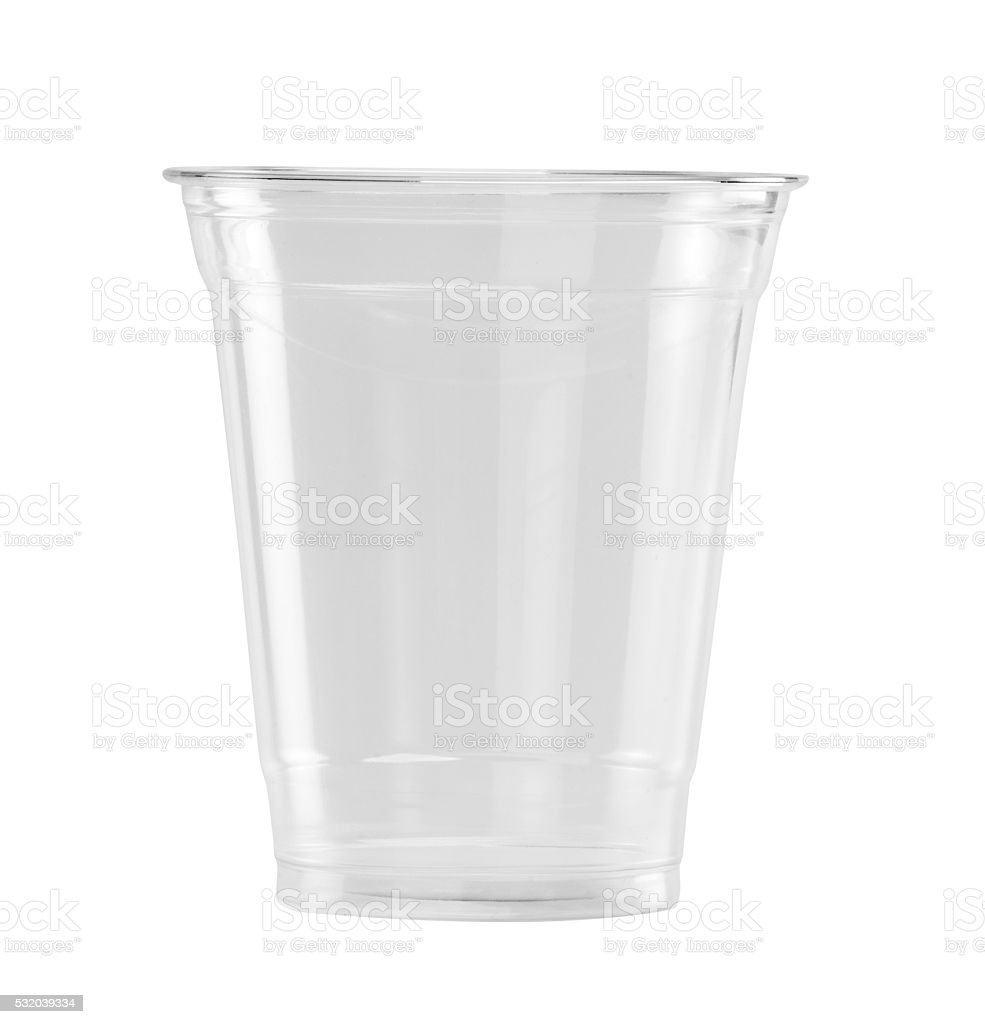 Plastic Glass on white background with clipping path stock photo