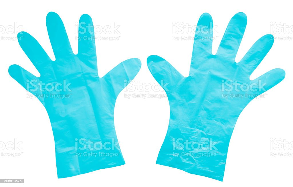 Plastic gloves isolated - light blue stock photo