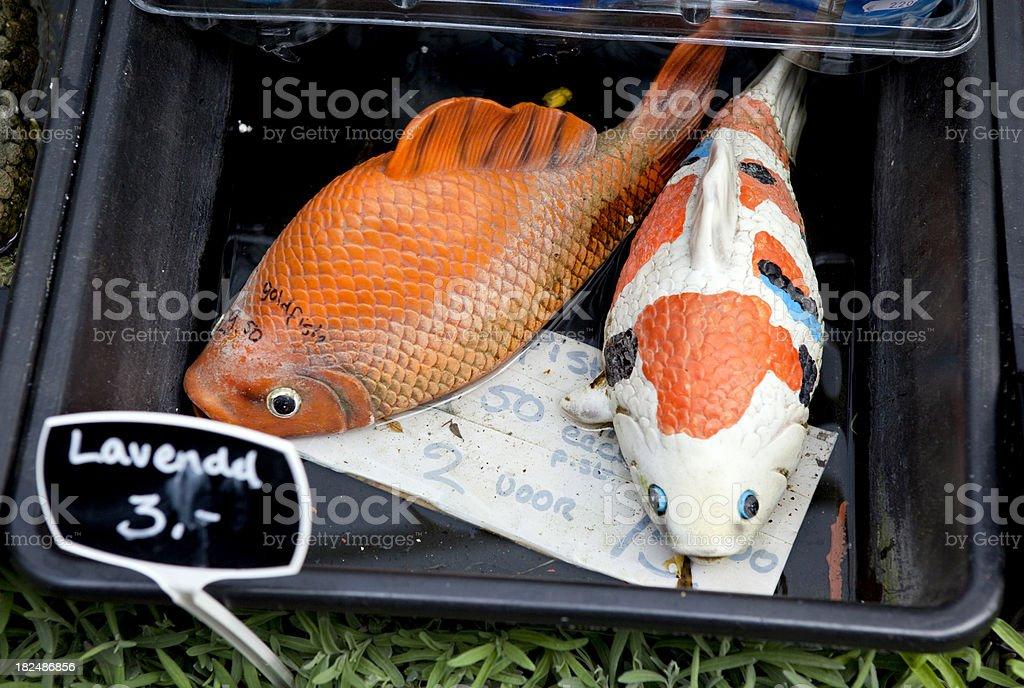 Plastic Gold Fish Garden Ornaments royalty-free stock photo