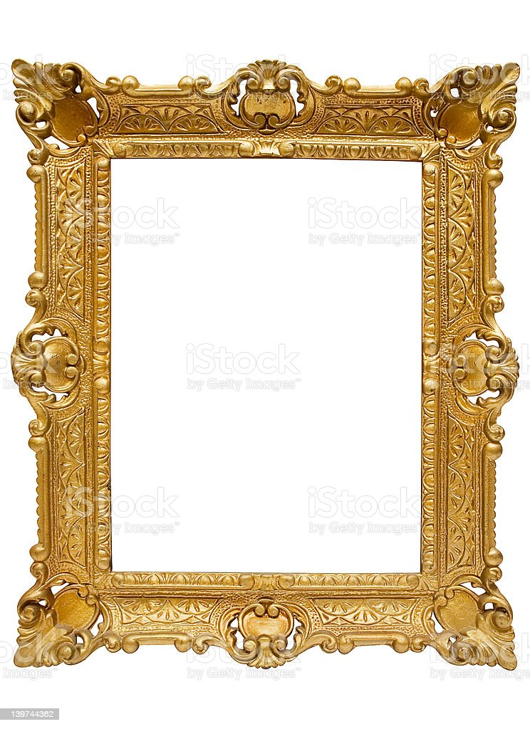 Plastic Golden Picture Frame w/ Path stock photo