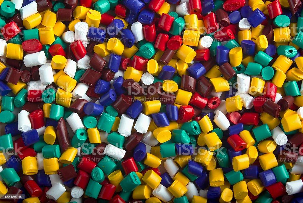 Plastic granules of various colors royalty-free stock photo