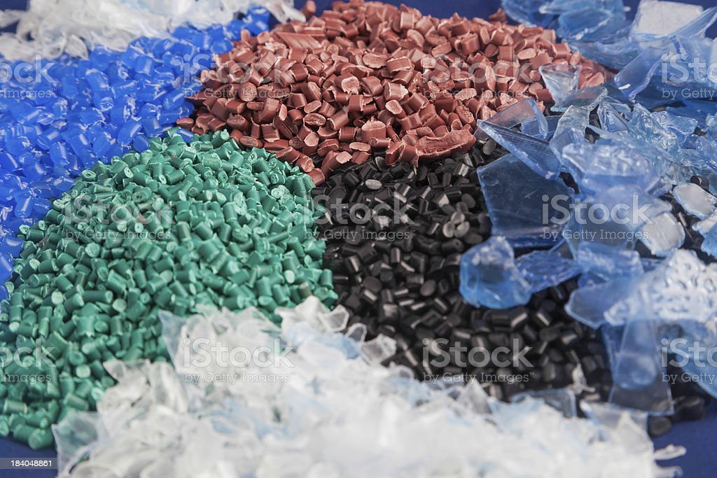 Plastic granules out of recycled plastics stock photo