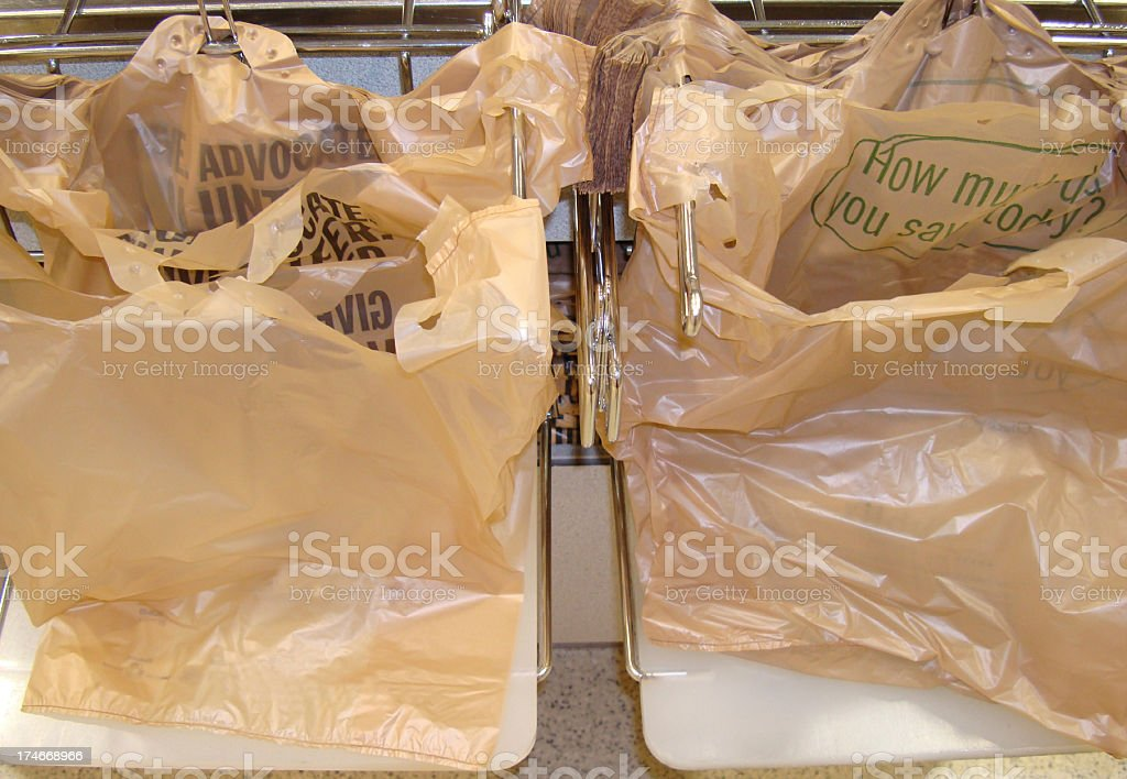 Plastic Grocery Bags & Rack royalty-free stock photo