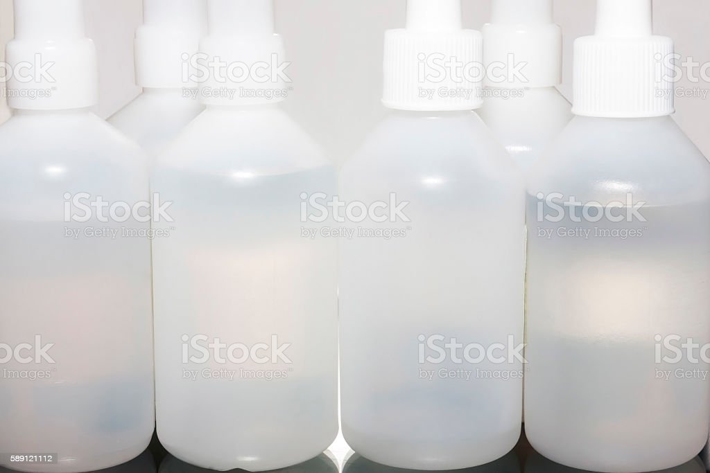 Plastic hospital boxes stock photo
