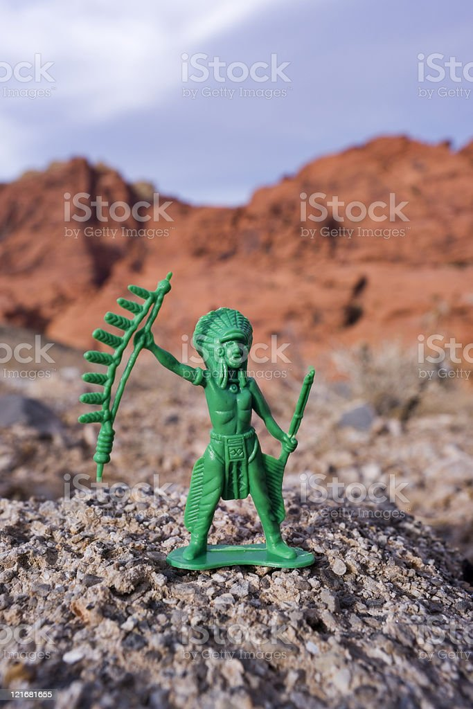 Plastic Indian Chief and Sandstone Hills stock photo