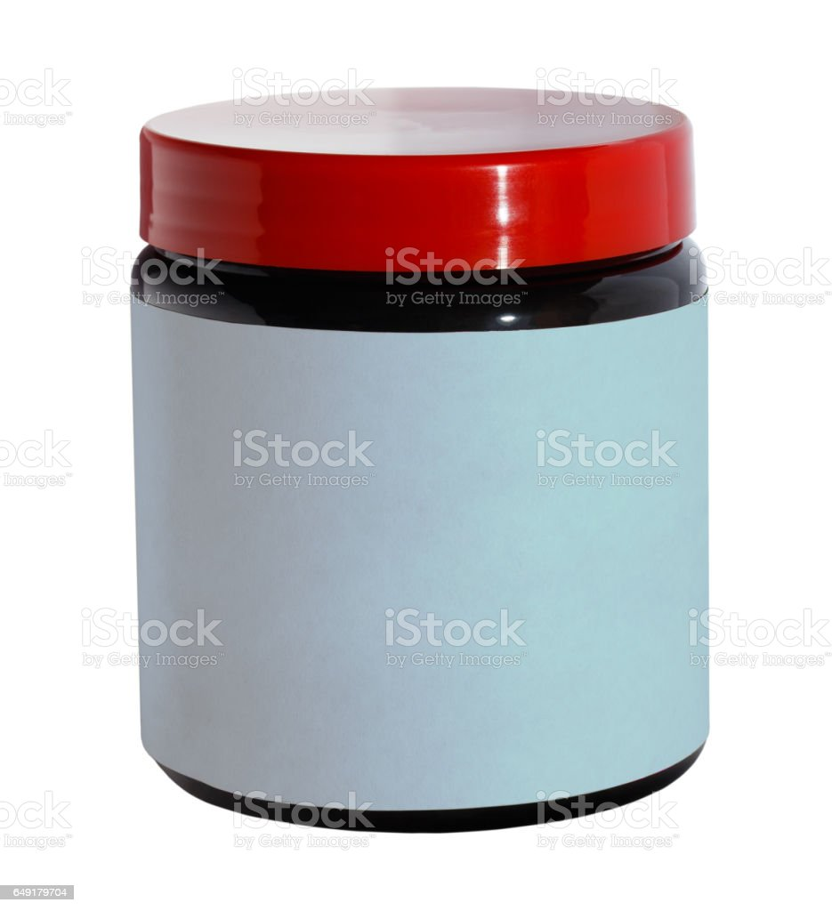Plastic jar with a white blank label stock photo