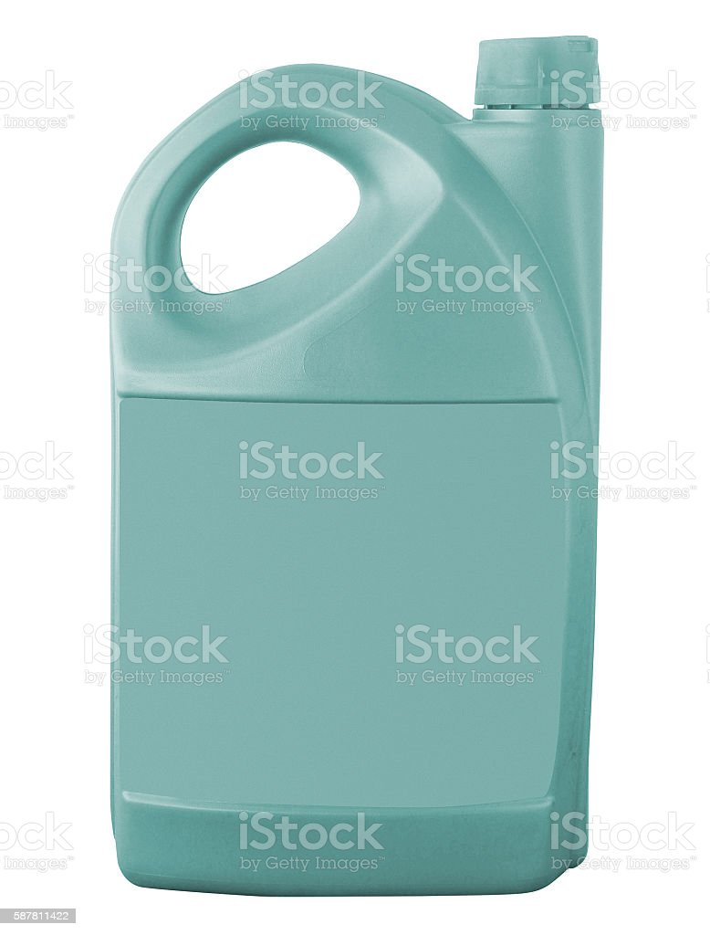 plastic jerry can isolated stock photo
