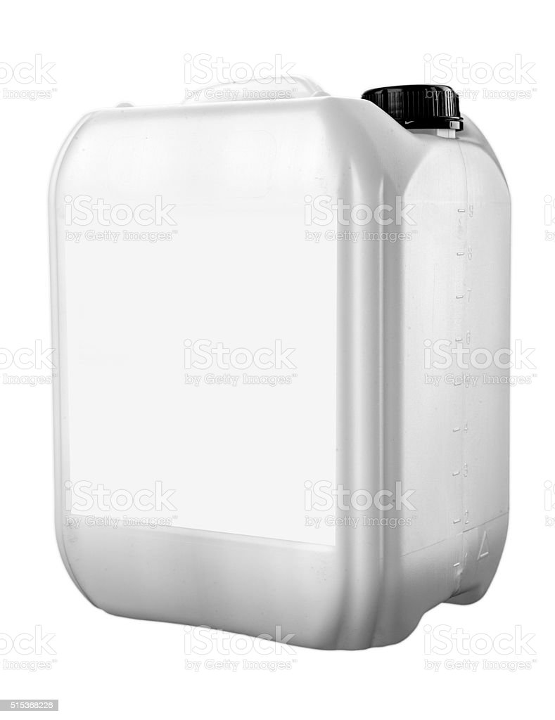 plastic jerrycan isolated on white background stock photo