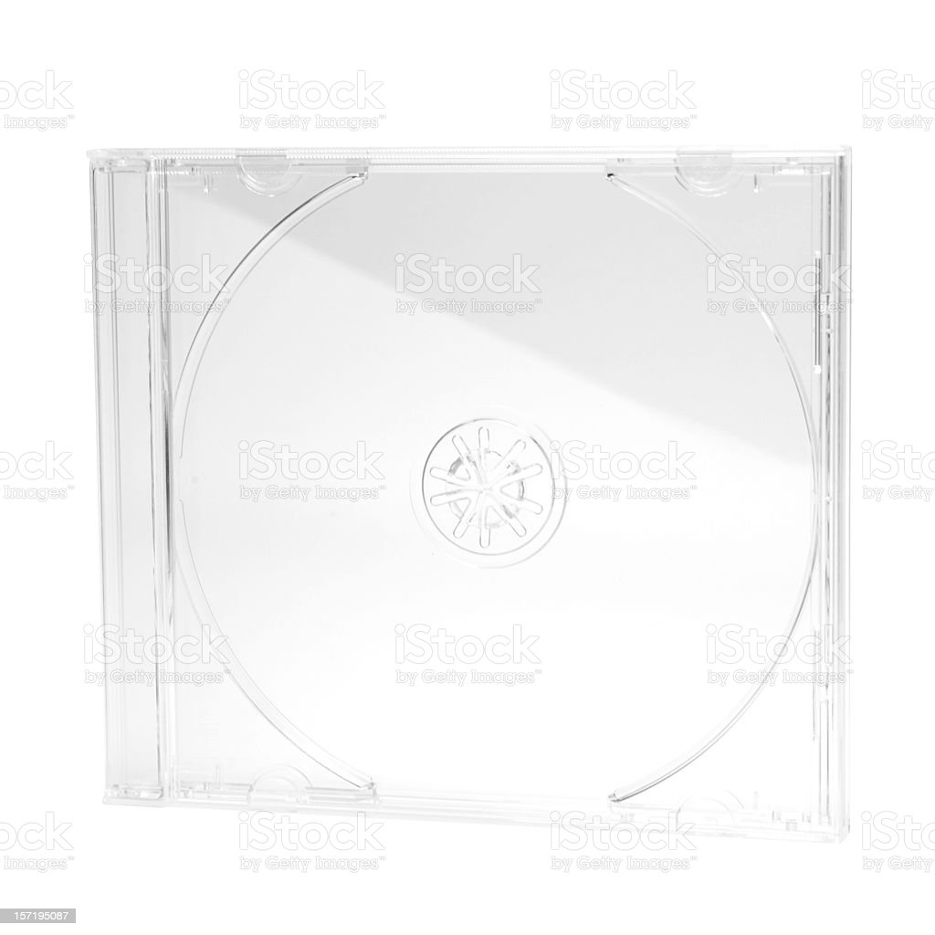 CD/DVD plastic Jewel case 10 mm, isolated on white background royalty-free stock photo