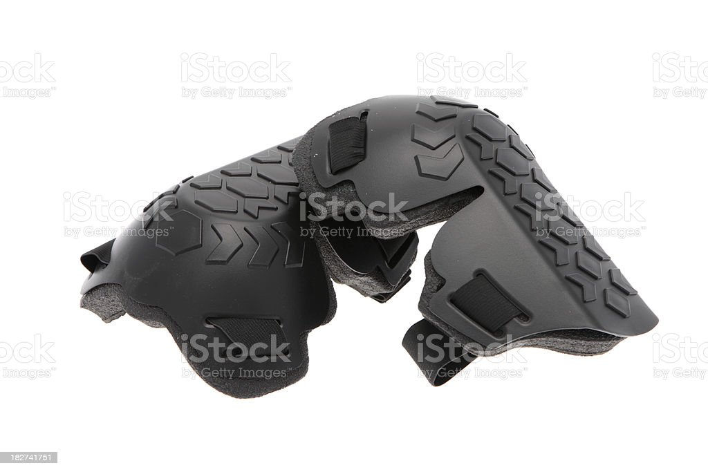 Plastic kneepads used to protect the knees during construction work stock photo