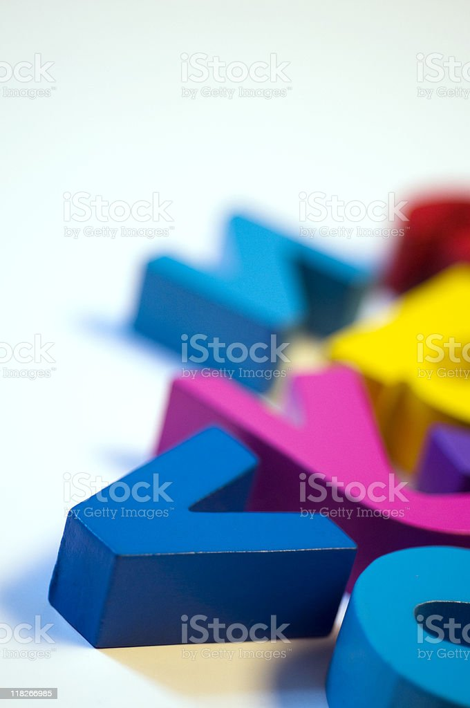 Plastic letters on white background, close-up royalty-free stock photo