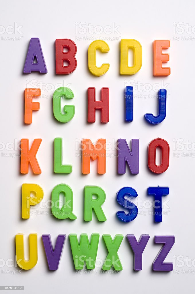 Plastic letters on white background stock photo