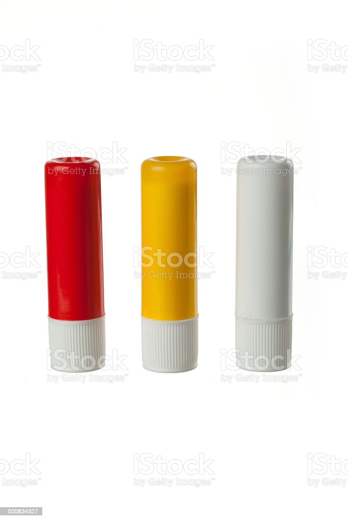 plastic lip balm stock photo