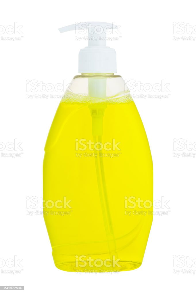 Plastic liquid soap bottle stock photo
