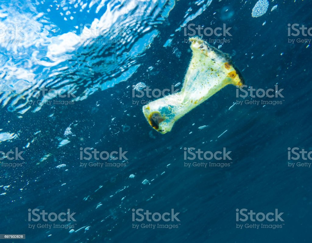 Plastic Ocean Pollution Floating Garbage Patch Global Environmental Issue stock photo