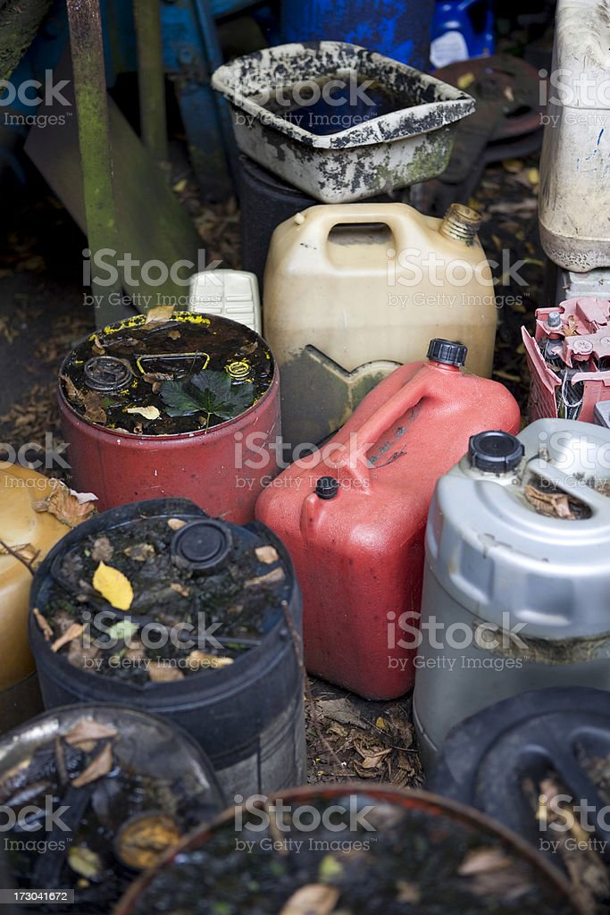 Plastic Oil and gasoline drums royalty-free stock photo