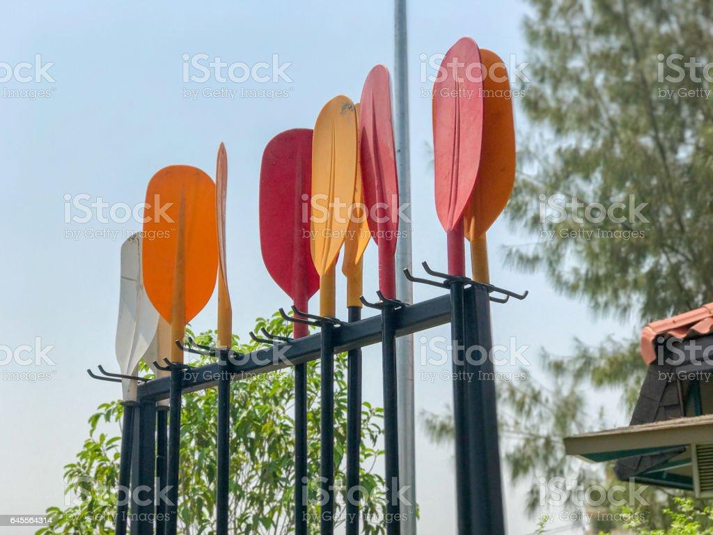 plastic Paddle of boat stock photo