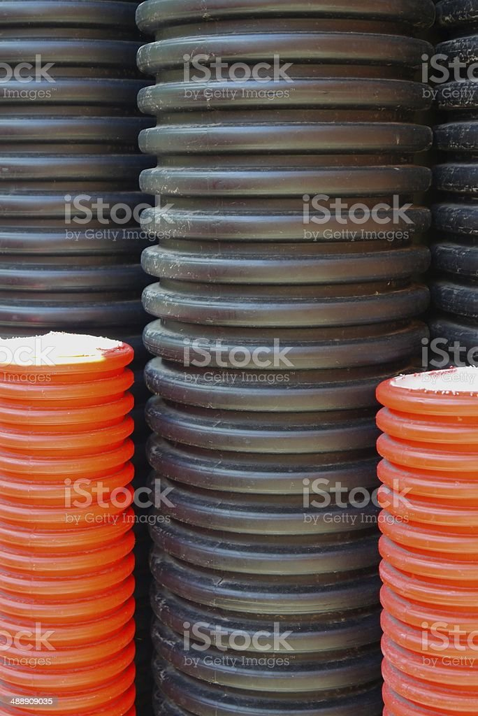 plastic pipes industriell industry line electricity power current stock photo