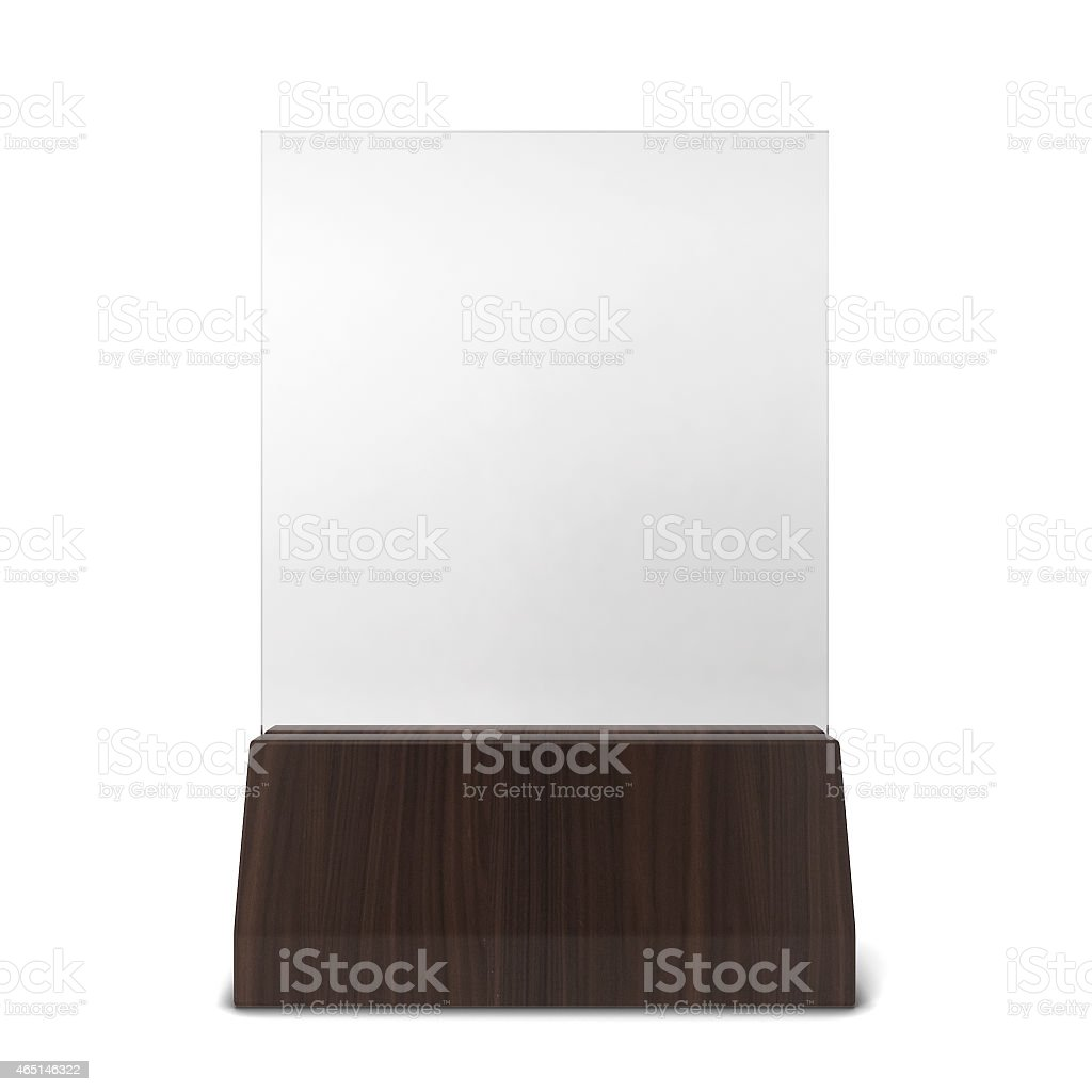 Plastic plate in wooden holder stock photo